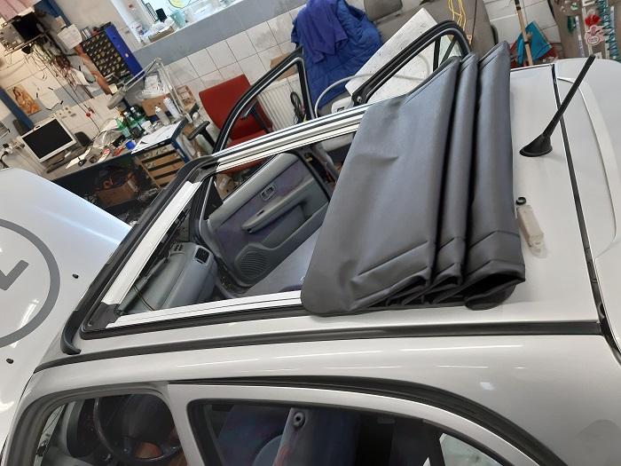 Nissan Micra inštalácia sťahovacej strechy Webasto
